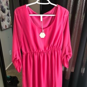 Hot pink knee length maternity dress